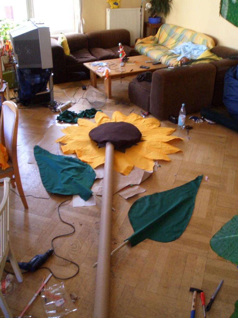 Vorbereitung für die Demo - SONNENBLUMENKERNENERGIE